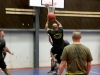 Sgt. Jesus Sanchez, an operations noncommissioned officer in the 101st Airborne Division (Air Assault), shoots a basket during a three-on-three basketball tournament at the Eagle Fitness Center on Forward Operating Base Union III, Baghdad, July 2, 2016. The basketball tournament was one of many activities on Union III to celebrate Independence Day. (U.S. Army photo by Sgt. Katie Eggers/Released)