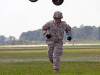 Spc. Nicholas Regnier, a utilities equipment repairer with 584th Support Maintenance Company, 129th Combat Sustainment Support Battalion, 101st Sustainment Brigade, 101st Airborne Division, runs to a safe distance after hooking up a water buffalo to a CH-47 Chinook helicopter Sept. 3 at Fort Campbell, Ky. (U.S. Army photo by Sgt. Leejay Lockhart, 101st Sustainment Brigade Public Affairs)