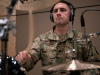 Sgt. Gerard Cortese, a percussionist, 101st Airborne Division Air Assault Band plays the drums while recording 'Light of the Gold Star' at Columbia Studio A in Nashville on October 26. (US Army photo by Sgt. Patrick Kirby, 40th PAD)