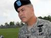 Maj. Gen. John F. Campbell speaks with the media