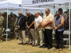 Veterans of the Fort Campbell finance team bow their heads for a moment of silence, June 25, 2017, during the memorial rededication ceremony at the Defense Military Pay Office on Fort Campbell, Kentucky. The ceremony was in honor of Capt. Luis A. Avillan and Staff Sgt. Michael A. Murray, who were part of the Fort Campbell finance team, who passed during the Gander plane crash on Dec. 12, 1985, during their return from a peace keeping mission in Sinai, Egypt. (Sgt. Neysa Canfield/101st SBDE Public Affairs)