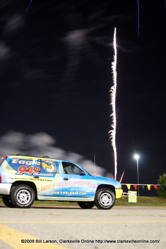 A firework races towards the sky