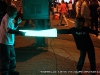 Two young men play fight with their new light sabres at Rivers and Spires on Friday