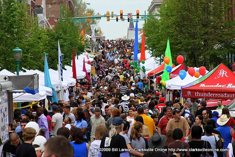 The streets are densely packed for the final day of Rivers and spires