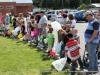 Kids lining up for the Easter Egg Hunt.