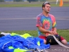 Parachutist finishes packing chute away