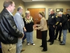 Clarksville Mayor Kim McMillan greets the retiring Clarksville Police Officers. (Photo by CPD-Jim Knoll)