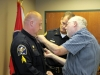 Sgt Steve Hamilton is being pinned by his father. (Photo by CPD-Jim Knoll)