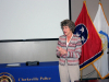 Clarksville Mayor Kim McMillan speaks at Police Officer James Eure's retirement ceremony