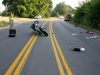 A Harley motorcycle crashed into a Chrysler Van Friday morning on Trenton Road. (Photo by CPD-Jim Knoll)