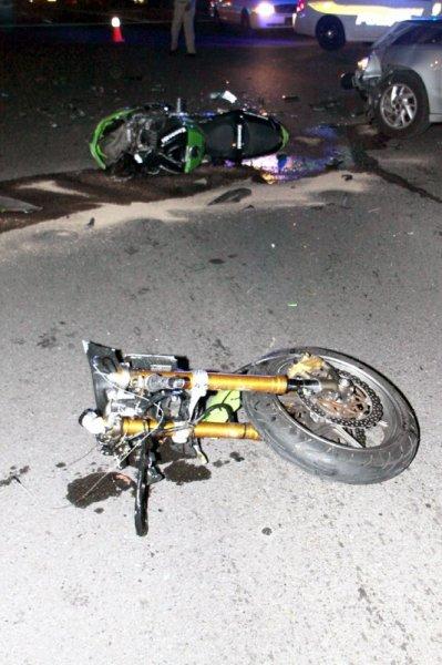 respond to a Motor Vehicle Crash involving Car and Three Motorcycles