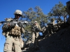 """Sgt. Brent Eichler, an infantryman with 1st Platoon, 1st Battalion, 506th Infantry Regiment """"Red Currahee,"""" 4th Brigade Combat Team, 101st Airborne Division (Air Assault), walks down the slope with some of his fellow Currahees during a joint patrol with the Afghan National Army soldiers with 6th Khandak, 1st Brigade, 203rd Corps from Combat Outpost Wilderness, Afghanistan, Oct. 21, 2013. (U.S. Army photo by Staff Sgt. Todd A. Christopherson, 4th Brigade Combat Team Public Affairs)"""