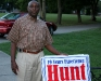 Robert W. Hunt with campaign yard sign