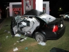 A 2002 VW Jetta crashed into a pole on the lot of Kentucky Fried Chicken on North Second Street early Sunday Morning. (Photo by CPD)