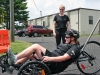 Spc. Amanda Lyle rides recumbent bicycle June 30, 2014 at Fort Campbell outside the Warrior Transition Battalion's Adaptive Reconditioning Program office. Lyle recently wheeled her way to a silver medal in recumbent cycling at the Army Warrior Games trials June 15-20 at the U.S. Military Academy, West Point, New York. (U.S. Army photo by Stacy Rzepka/RELEASED)