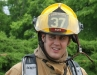 A Fort Campbell Firefighter stands ready to assist victims