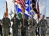A past to present Color Gaurd comprised of Soldiers with the 4th Brigade Combat Team, 101st Airborne Division (Air Assault), stand at attention during a ceremony held at their headquarters at Fort Campbell, Ky. (U.S. Army photo by Sgt. Justin A. Moeller, 4th Brigade Combat Team Public Affairs)