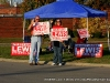 City Councilman James Lewis campaigns outside Hazelwood Elementary School