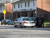 Clarksville Police Officers surround an apartment on Ladd Street were robbery suspect Justin Horstead was hiding out.