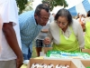 Checking the inscription on the cake- Milan and Loretta Lewis