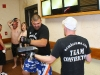 A super heavy weight warms up before bout
