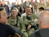 """Staff Sgt. Serge McAvoy (left) and Sgt. Jeremy Macdonald, both assigned with 1st Battalion, 187th Infantry Regiment, 3rd Brigade Combat Team \""""Rakkasans,\"""" 101st Airborne Division (Air Assault), laugh during a song played by members of the Nashville to You Tour, at forward operating base Gardez, Nov. 15, 2012. The tour featured Nashville\'s top songwriters and performers as they traveled throughout Afghanistan performing for deployed soldiers. (U.S. Army Photo by Sgt. 1st Class Abram Pinnington, TF 3/101 PAO)"""