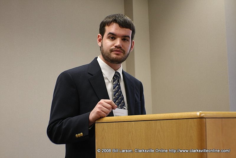 """Garrett Spivey gives his presentation """"From Southern Populist to Constitutional Champion"""""""