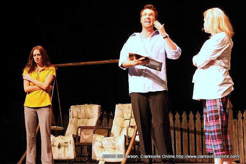Hal explaining the implications of the Proof. From left to right: Catherine, played by Jolie Hausman; Hal, played by Bryce Conner; and Claire, played by Britney Jade Smith