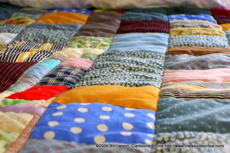 One of the many handsewn quilts donated to the shelter
