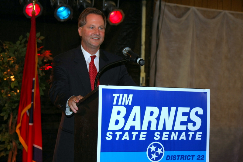 Tim Barnes greets his supporters