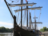 The Niña and Pinta are docked at Clarksville's McGregor Park