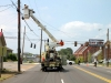 Transformer falls through roof of Tractor Trailer when utility pole is hit. (Photo by CPD-Jim Knoll)