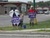 Supporters promoting their candidates at Veterans Plaza