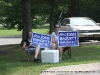 Supporters promoting their candidates at Cumberland Presbyterian Church (District 21) on Golf Club Lane