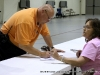 Anthony Davis  from the Montgomery County EMS service voting at Cumberland Presbyterian Church (District 21)