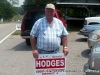Candidate Arnold Hodges campaigning outside the 100\' boundary at the Central Civitan Building (District 4b)