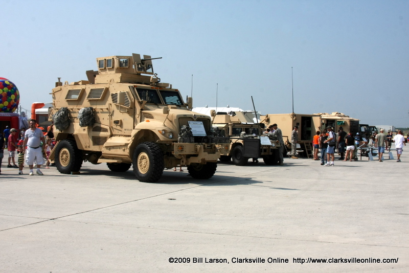 A static display of ground vehicles used by the 101st.
