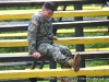 2nd Lt. Rob Eberts pauses a moment to deal with a cramp at the Toughest Air Assault Soldier Competition