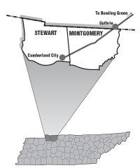 Map of the RJ Corman Railroad line servicing Clarksville, TN
