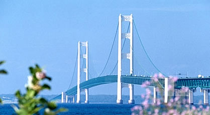 The 5 mile long Mackinac Bridge