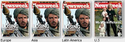 Covers of Newsweek Magazine showing the filtering of news presented to American Citizens