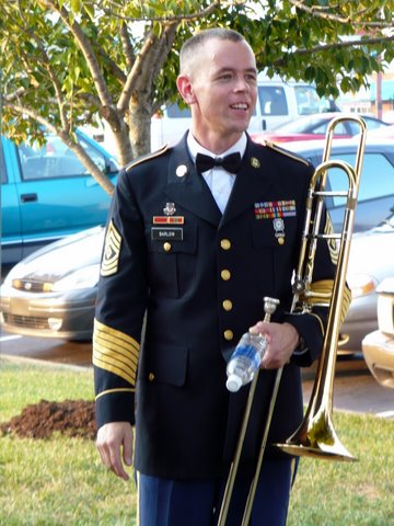 1SG Keith Barlow with his Trombone