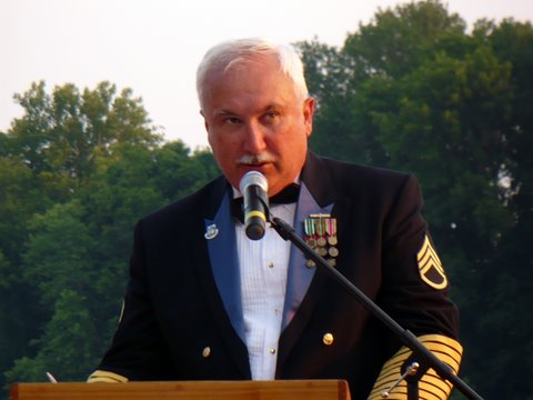 The Master of Ceremonies SSG Bill Tubbs welcomes the crowd