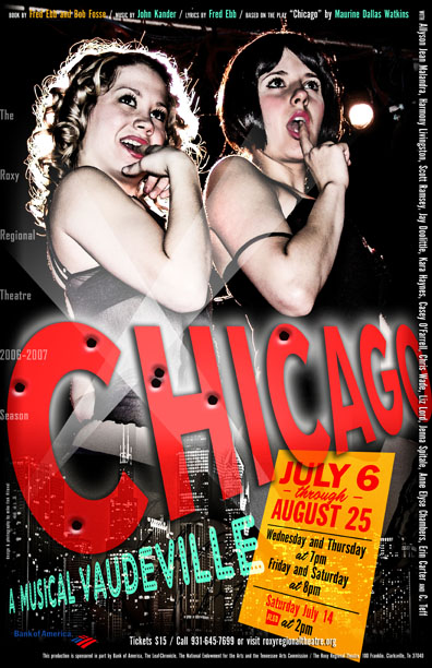 The Roxy Regional Theatre's Chicago Poster, designed by Mike Fink