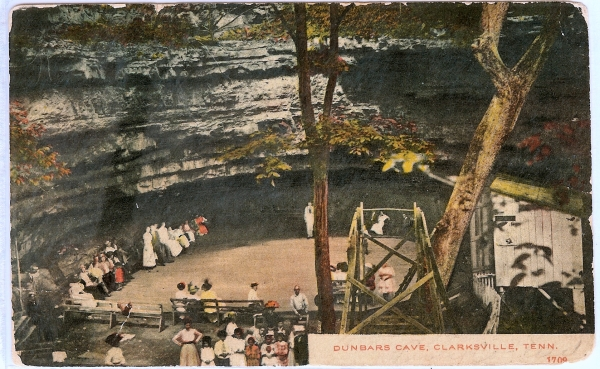 A hand colored postcard of festivities at Dunbar Cave in Clarksville, Tennessee