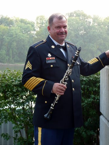 Clarinet player SGT John Kopping and his instrument