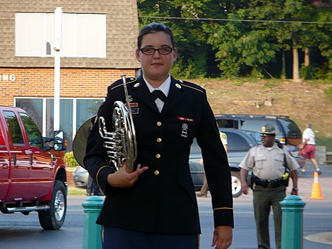 French Horn Player Specialist Rachel Smith with her instrument