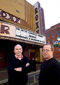 John McDonald and Tom Thayer in front of The Roxy Regional Theater