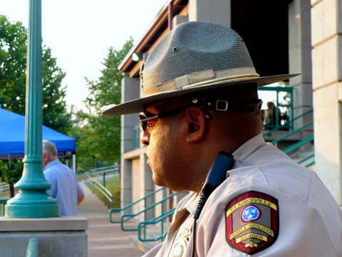 Park ranger Derrick Oliver keeps a watchful eye on things
