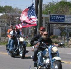 Biker with flag
